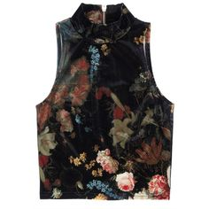 Rihanna For River Island Winter 2013 Floral High-Neck Top ❤ liked on Polyvore featuring tops, shirts, floral print top, floral shirt, black top, black floral top and flower print shirt