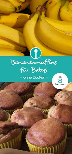Banana muffins for babies and toddlers (without sugar) from 8 months - Healthy sugar-free muffins for babies. Healthy sugar-free muffins for babies. Baby Muffins, Sugar Free Muffins, Toddler Meals, Kids Meals, Muffins Sains, Ma Baker, Baby Food Combinations, Baby Snacks, Baby Finger Foods
