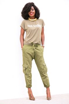 """""""Not Today"""" Print Tee + Boyfriend Cargo Pants (Style Pantry) Olive Pants Outfit, Camo Pants Outfit, Tomboy Fashion, Fashion Pants, Tomboy Style, Work Fashion, Girl Style, Casual Fall Outfits, Cute Outfits"""