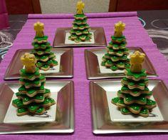 Arbolitos de Navidad hecho de galletas de vainilla! Mmmm