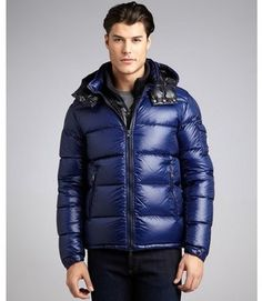 Moncler royal navy quilted woven down fill hooded coat