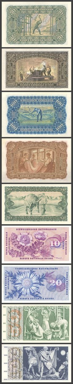 Swiss Bank Notes, 1911-1957