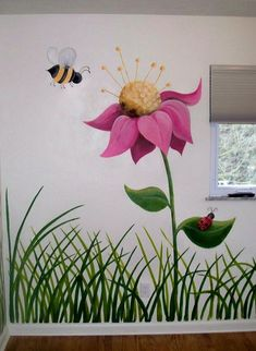 latest wall painting ideas for home to try 30 ~ mantulgan.me : latest wall painting ideas for home to try 30 ~ mantulgan. Mural Floral, Flower Mural, Flower Wall, Diy Flower, Nursery Wall Murals, Mural Wall Art, Garden Fence Art, Moss Garden, Beer Garden