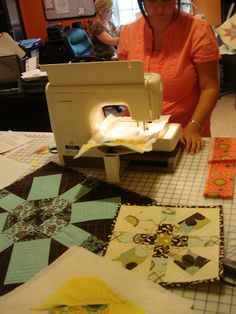 """Janet, our customer service guru, making her second quilt ever! """"Madison"""" from HoopSisters Young & Modern Collection."""
