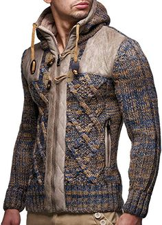 03d60fb60ba Leif Nelson Men s Knit Zip-up Jacket With Geometric Patterns and Leather  Accents