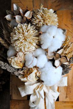 Bridal Bouquet - Natural Cotton Bolls - Raw Cotton - Wedding - Bridesmaids - Dried Bouquet - Boutonnieres. via Etsy.