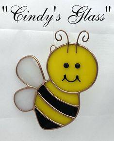 Stained Glass Honey Bee Suncatcher Ornament