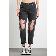 Forever 21 Women's  Destroyed Boyfriend Jeans ($33) ❤ liked on Polyvore featuring jeans, distressed jeans, destruction jeans, ripped boyfriend jeans, torn boyfriend jeans and distressing jeans