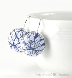 Drop Earrings Water Lily Dangle Earrings Blue Flowers Silver Toned Floral Bridal Leverback Earrings Fabric Covered Button Wedding Jewelry  Christmas Gift by PatchworkMillJewelry