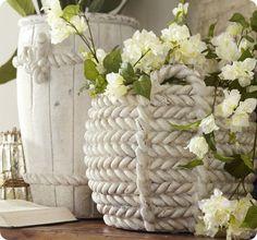 Knock off pottery barn ceramic rope vases