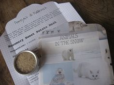 Rosemary Sugar 'Inspirations of Winter' Animals in Snow Letter Parcel; comes with Recipe for Rosemary Sweet Potato Mash in handmade envelope. Perfect little gift for Xmas @PumpjackPiddlewick on Etsy
