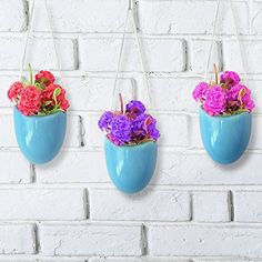 MyGift Set of 3 Rustic Clay Wall-Hanging Mini Planters Hanging Succulents, Succulent Planters, Hanging Planters, Planter Pots, Decorated Flower Pots, Special Deals, Outdoor Gardens, Aqua, Ceramics