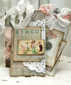 : cute lil mini bingo card ♥ Anne's paper fun: Tag in the bag Christmas Bingo Cards, Christmas Tag, Handmade Tags, Greeting Cards Handmade, Card Tags, Gift Tags, Shabby Chic Cards, Paper Tags, Vintage Tags
