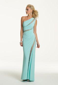 Sheath/Column One Shoulder Sleeveless Chiffon Prom Dresses With Beaded #BK153