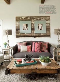 Pallet ideas! Table but I also love the planking on the wall behind the framed photos. A unique way to draw focus to them! Rustic elegance! :)