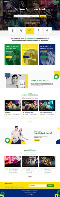 Template designed using Adobe Photoshop CS6 for a Brazilian Zouk Dance Directory by Zealopers, a web design and development company. Brazilian colors are used as per the requirement. Organization Lists, Landing Page Design, Adobe Photoshop, Web Design, Templates, Dance, Website, Colors, Dancing