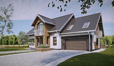 Projekt domu z poddaszem o pow. 186,9 m2 z obszernym garażem, z dachem dwuspadowym, z tarasem, z wykuszem, sprawdź! Modern Architecture House, Design Case, Home Fashion, Exterior Design, Planer, House Plans, Sweet Home, House Design, Villa