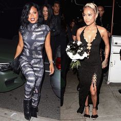 'Dip It Low' #ChristinaMilian was spotted this weekend on arrival to her bestie #KarruecheTran's birthday party in West Hollywood.  The 34-year old 'Say I' singer wore a skintight black jumpsuit featuring a bold gun print.  The model ex- of #ChrisBrown wore a black dress with plunging neckline feathered sandals and a large bouquet of black and white flowers.  The Friday 13th bash was in celebration of #Karrueche's 28th birthday (which actually falls on Tuesday the 17th of May) and she was…