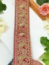 """1.1//2/"""" 38mm Red Scalloped Stretch Lace Trim with Sequins x 1 yd"""