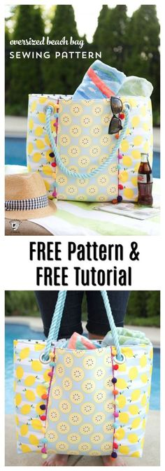 Sewing Bags Beach Tote Pattern 52 New Ideas Bag Patterns To Sew, Tote Pattern, Sewing Patterns Free, Free Sewing, Wallet Pattern, Pattern Sewing, Sewing Projects For Beginners, Sewing Tutorials, Bag Tutorials