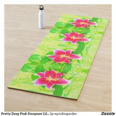 Pretty Deep Pink Stargazer Lily on Lime Green Yoga Mat double sided printing by My Rubio Garden Tree Lily, Oriental Lily, Stargazer, Affordable Art, Pink Flowers, Fine Art America, Beautiful Flowers, Lime, Artsy