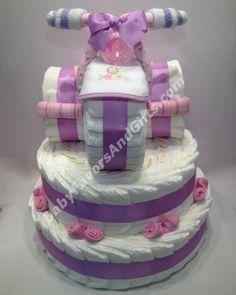 Three Wheeler Diaper Cake For Girls Diaper Cakes