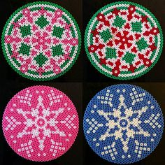 Christmas coasters hama perler beads by shafiebieg