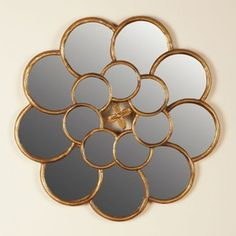 Inspired by luxe peonies, the Hollister Framed Mirror adds rich Old Hollywood glamour to any space. Two rings of overlapping mirrors are encased in gilded accent petals, creating an eye-catching Regency centerpiece for your bedroom, den or dining room. Mirror Tiles, Mirror Art, Diy Mirror, Brass Mirror, Home Room Design, Home Interior Design, Buffett Table, Arabesque, Internal Design