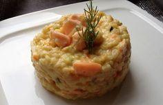 risotto aux 3 légumes et saumon frais