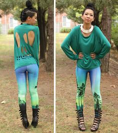 Green Skull Cut-Out Long Sleeve Shirt