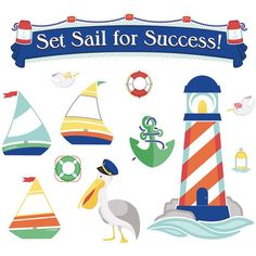 Give students a little encouragement to reach new heights with the 63-piece S.S. Discover Set Sail for Success bulletin board set. This motivational set features nautical accents like lighthouses, sea