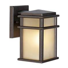 "Feiss Mission Lodge Bronze Wall Mount 9"" High Lantern"