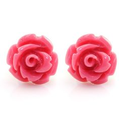 Handcrafted Resin Color Simulated Coral Rose Flower Earring Studs,... ($6.99) ❤ liked on Polyvore featuring jewelry, earrings, fake earrings, stainless steel jewelry, flower stud earrings, resin flower earrings and resin stud earrings
