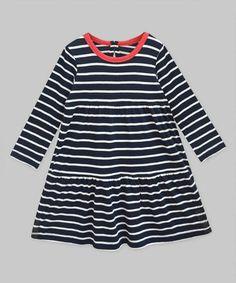 Loving this Navy White Stripe Red Chloe Dress - Infant, Toddler & Girls on #zulily! #zulilyfinds