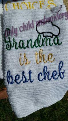 grandma towel design https://facebook.com/onlychildembroidery