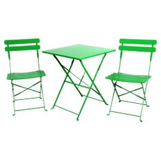River Cottage Gardens Outdoor Foldable 3-Piece Square Bistro Table Set, Green