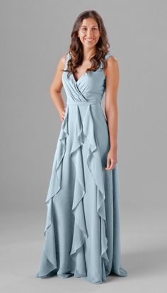 Sky blue color on this beautiful boho chic inspired bridesmaid dress. Perfect for a mix and match bridal party! | Kennedy Blue