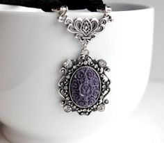 Purple and Black Velvet Choker Necklace ~ Downton Style by belleonabudget