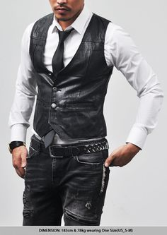 Outerwear :: Vests :: Tough-chic Slim Cut Leather Vest-Vest 41 - Mens Fashion Clothing For An Attractive Guy Look