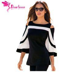 DearLover Femmes Blouse Noir Blanc Colorblock Cloche Manches Cold Shoulder Top Mujer Camisa Feminina Dames de Bureau Vêtements LC250605