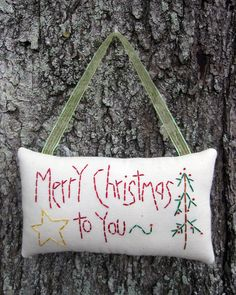 Primitive Merry Christmas Embroidery Ornament