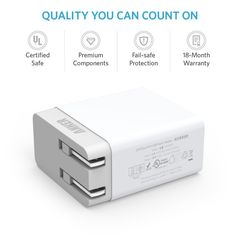 Amazon.com: Anker® 20W 2-Port USB Wall Charger with Foldable Plug and PowerIQ Technology for iPhone, iPad, Samsung Galaxy, Nexus, HTC, Motorola, LG and More (White): Cell Phones & Accessories