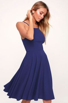 Everyone will want to catch a glimpse of you wearing the Lulus Irresistible Charm Royal Blue Midi Dress! A high waist tops an A-line skirt. Royal Blue Midi Dress, Periwinkle Dress, Cobalt Blue Dress, White Midi Dress, Purple Lace, Plum Purple, Purple Dress, Navy Blue, Tube Dress