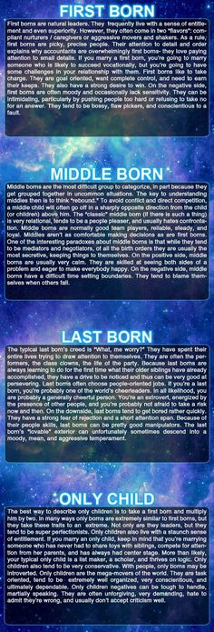 Effects Of Birth Order On Personality- I'm a first born, and this is SO accurate!