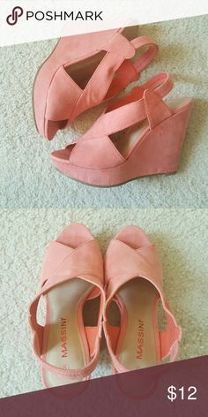 """Peachy Pink Platform Heels 4"""" platform open toe with elastic strap back. Worn only twice! Open to offers! Massini Shoes Platforms"""