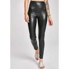 Vegan Leather Leggings ($21) ❤ liked on Polyvore featuring pants, leggings, black, skinny trousers, elastic waist pants, fake leather leggings, vegan leather pants and faux leather pants