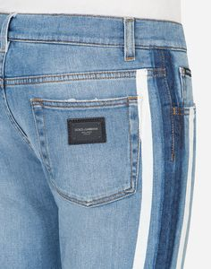 Five-pocket Gold jeans in light blue washed stretch denim with patch and  side bands  43ac784297