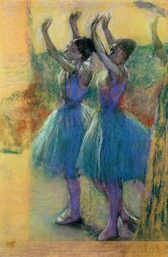 Two Blue Dancers Pastel  - Two Blue Dancers Fine Art Print