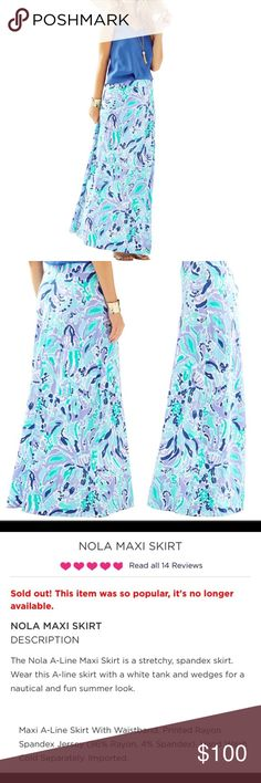 Lilly Nola Maxi Excellent Condition. Lilly Nola Maxi in Lilly's Lilac print Lilly Pulitzer Skirts Maxi