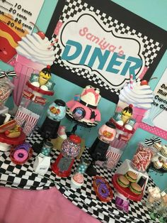 Retro 1950's sock hop birthday party dessert table! See more party ideas at CatchMyParty.com!